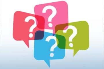 opseu action button faq. Colourful text bubbles with a question mark