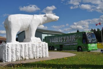 Bus that says: Only Fair is Fair, income inequality isn't! Large polar bear statue in the park