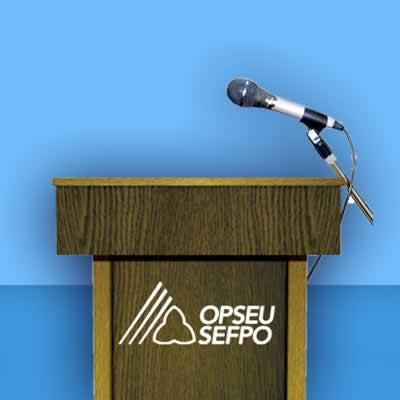 Podium with mic
