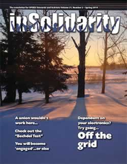 In Solidarity, spring 2014 cover. Off the grid.