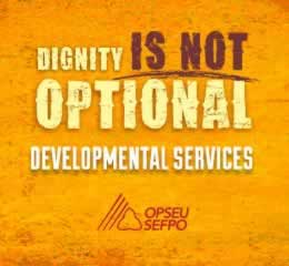 Dignity is not optional Developmental services banner
