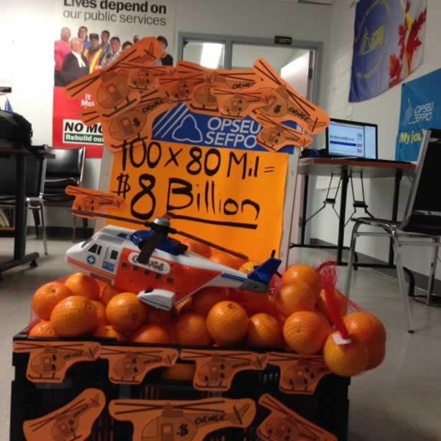 Display of oranges that says: 100x80 Million equals $8 billion