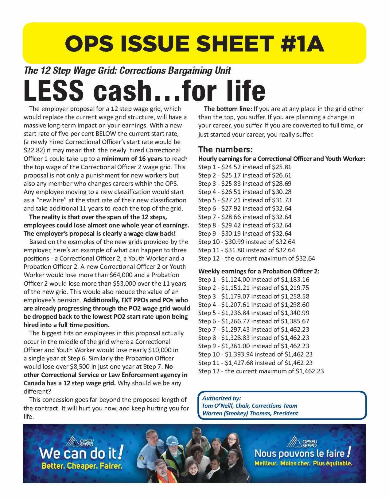 OPS Issue Sheet. The 12 step wage grid: corrections bargaining unit. Less cash... for life