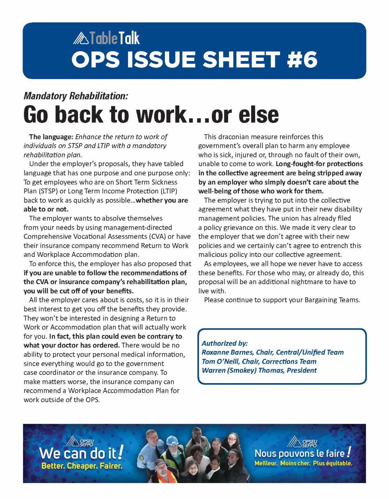 OPS Issue Sheet: Mandatory Rehabilitation: go back to work... or else