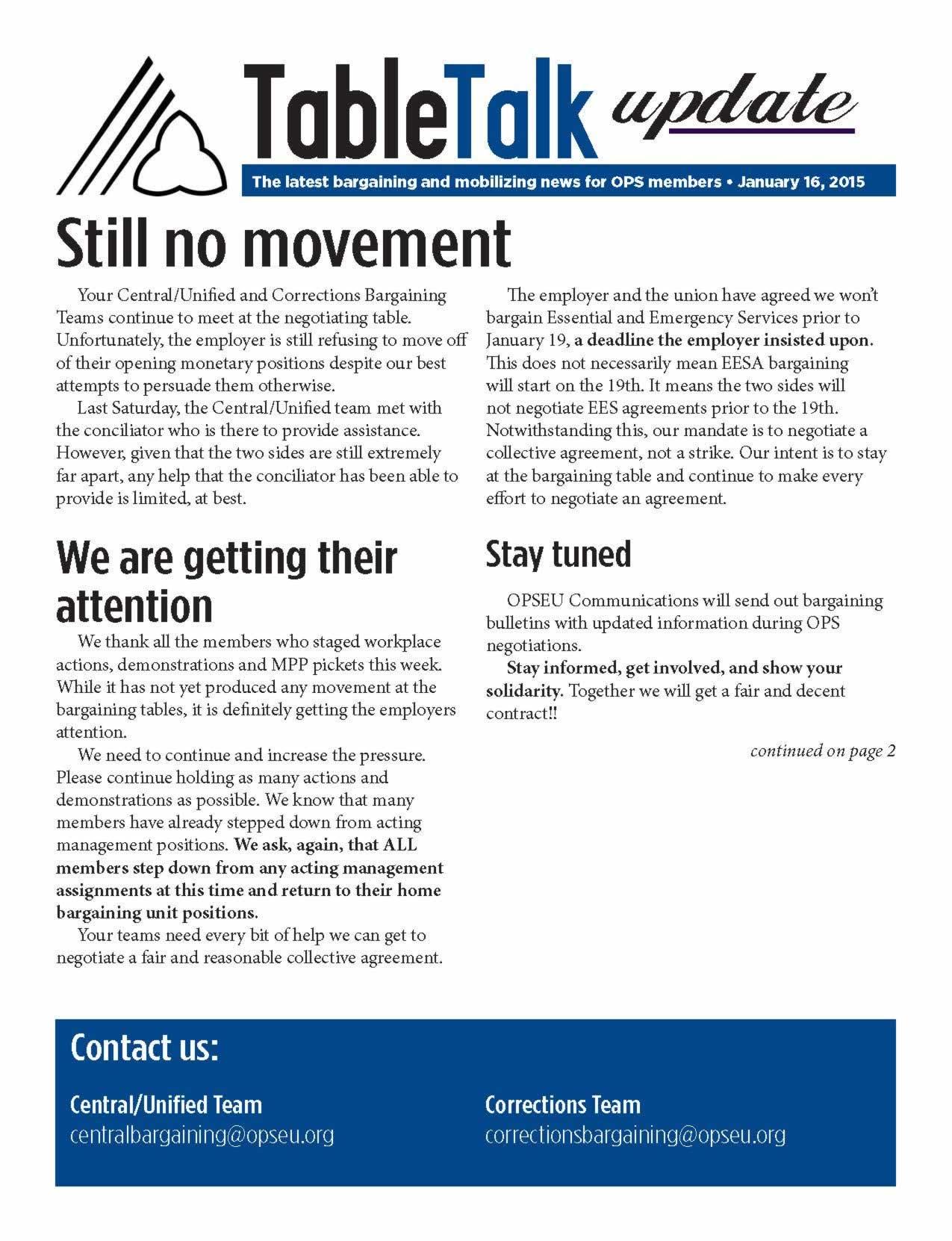 Table Talk Update: Still no movement