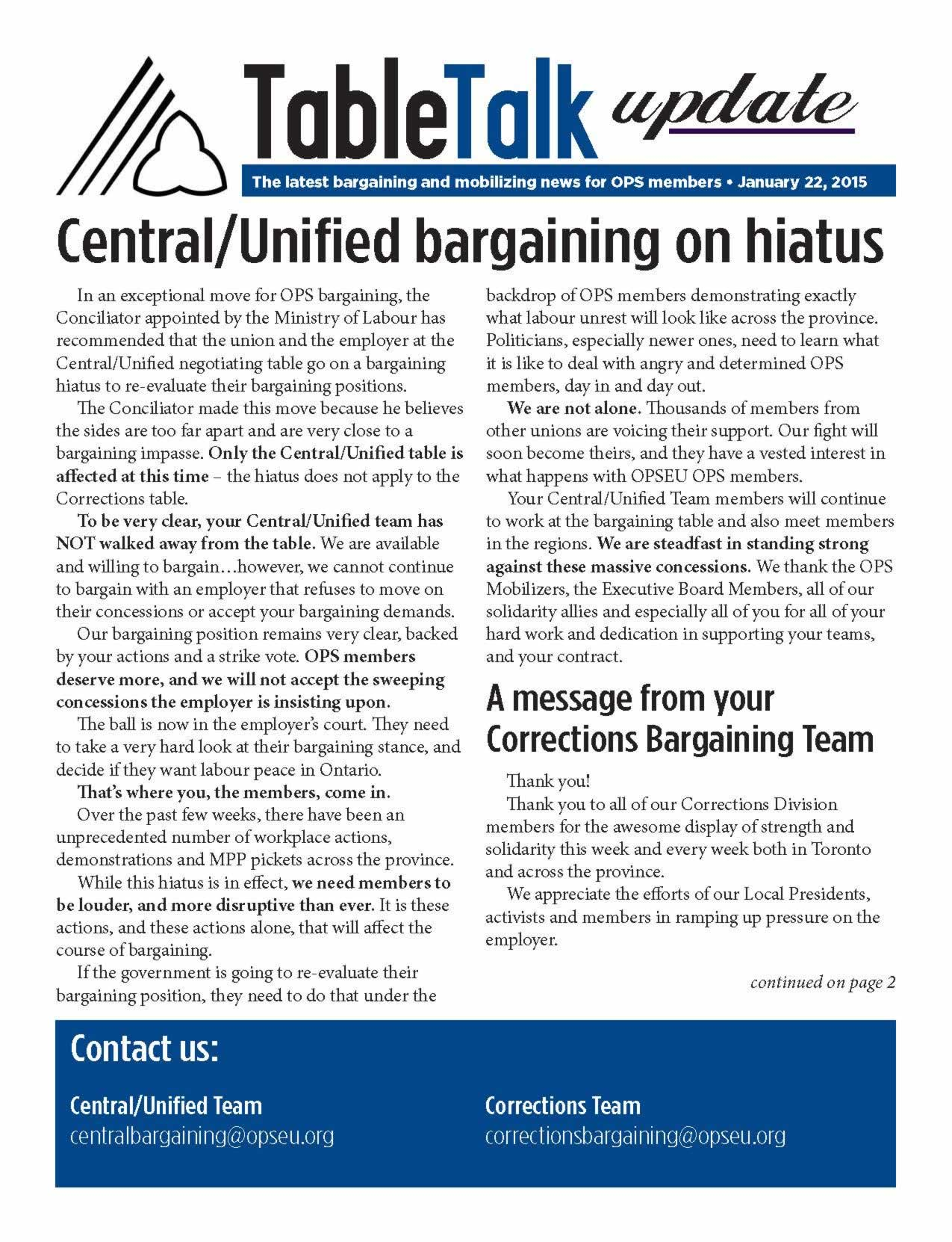 Table Talk Update: Central/Unified bargaining on hiatus
