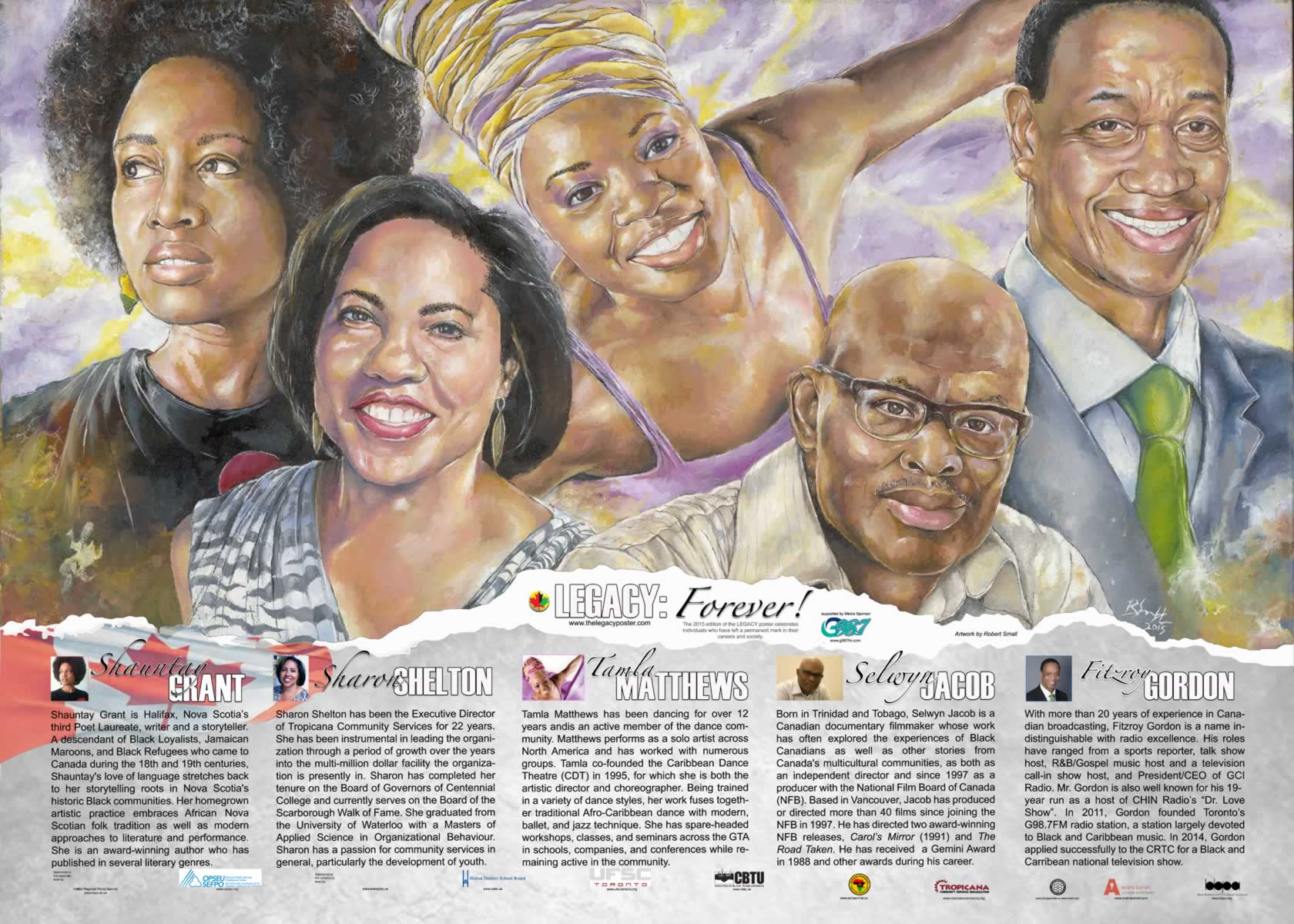 Legacy: Forever poster for black history month. Illustrations of different black leaders in the community