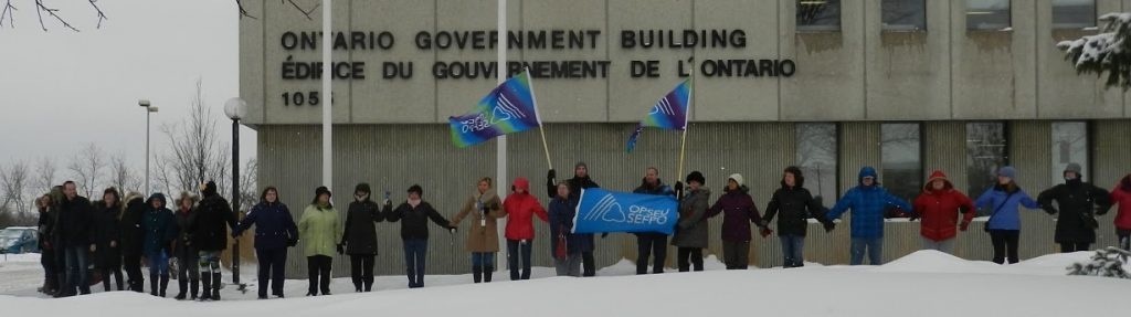 OPSEU members join hands in Kingston, holding OPSEU flags