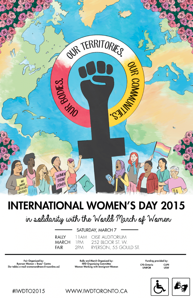 International Women's Day 2015. Our bodies, our territories, our communities. Illustration of diverse group of women holding signs
