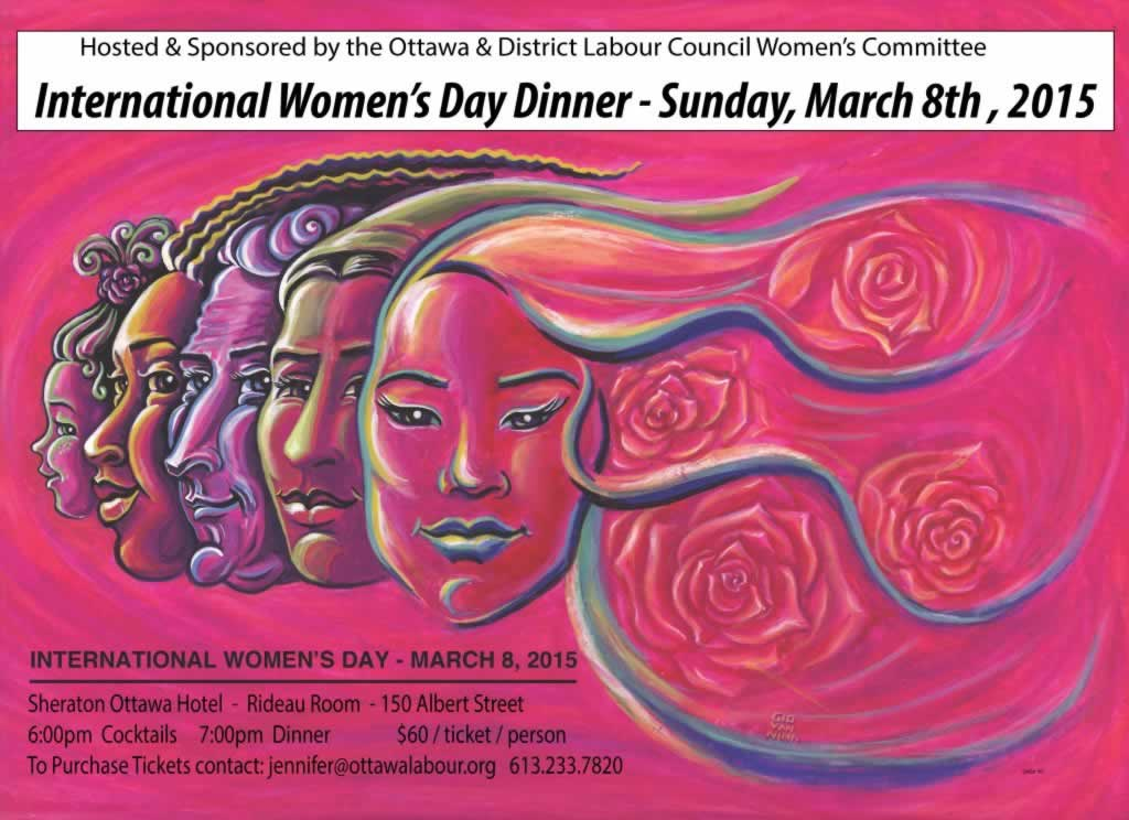 International Women's Day Dinner on March 8th, 2015. Illustration of diverse group of women
