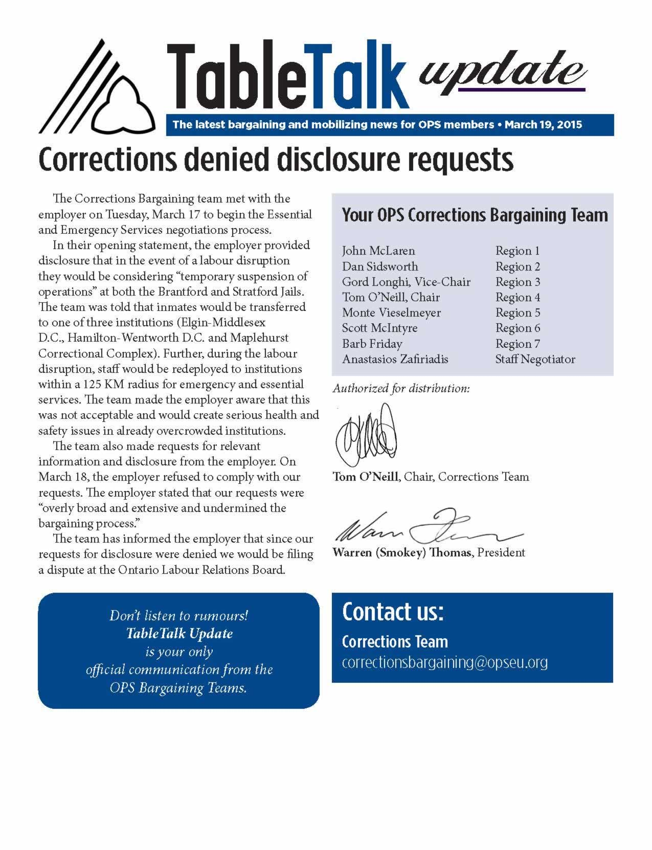 Table Talk Update: Corrections denied disclosure requests