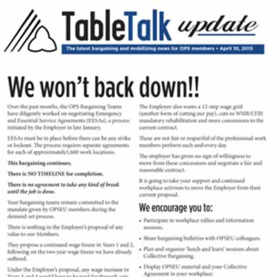 Table Talk Update: We won't back down!!