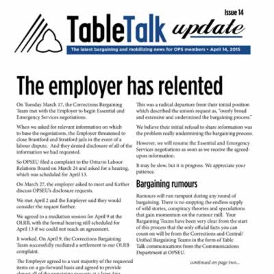 Table Talk Update: the employer has relented