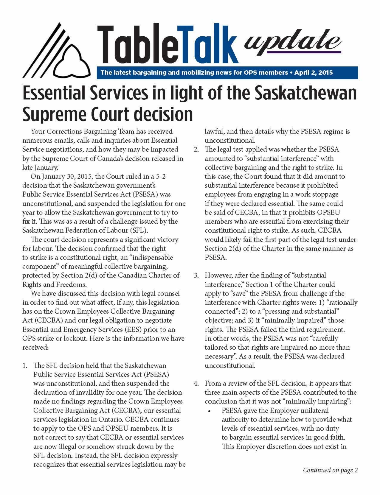 Table Talk Update: Essential Services in light of the Saskatchewan Supreme Court decision