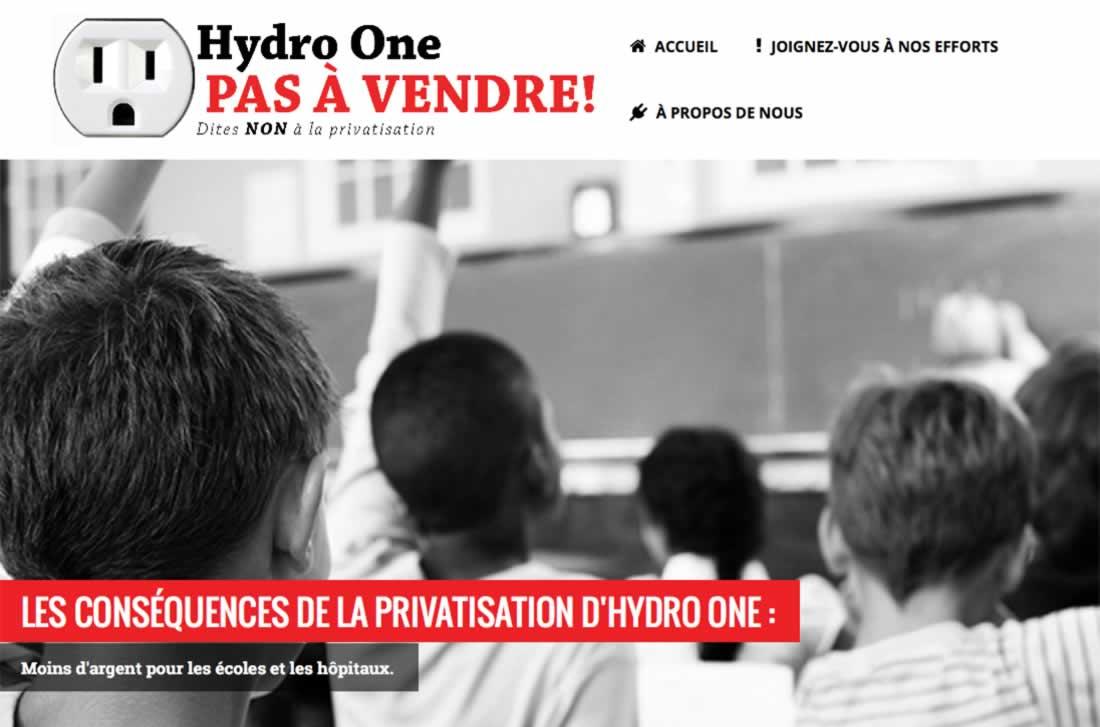 Hydro One: Pas a Vendre! Dites non a la privatisation