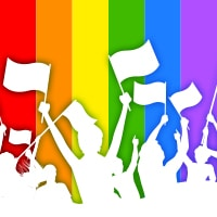 Pride illustration. Shapes of people waving flags in the air