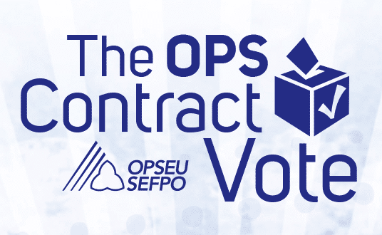 The OPS Contract Vote. Illustration of a ballot box