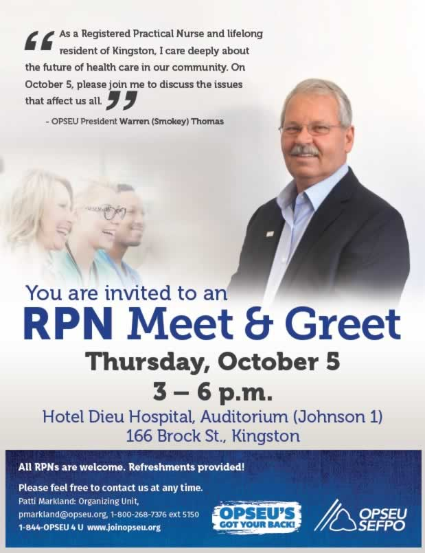 Poster with Smokey and three people inviting everyone to an RPN meet-and-greet on 5th October