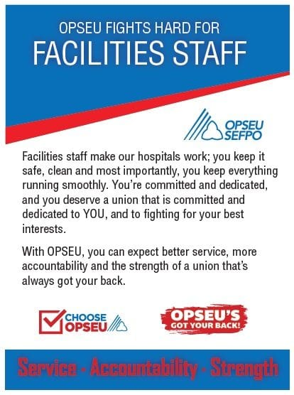 OPSEU fights hard for facilities staff poster.
