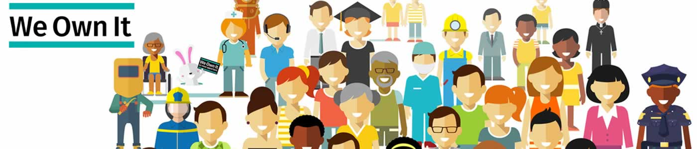 We Own it. Illustration of workers in different secteurs, including nurses, technicians, police officers, teachers, graduates