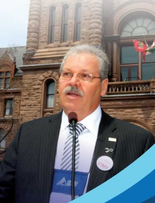 OPSEU President Warren (Smokey) Thomas speaking at Queen's Park.