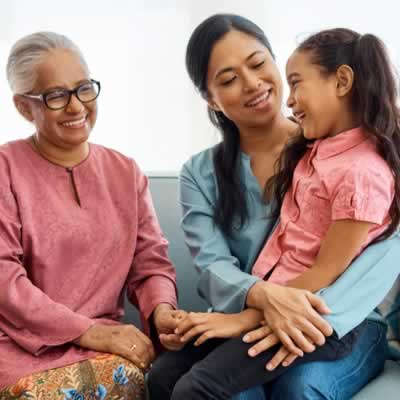 Grandmother, mother and daughter sitting together, smiling