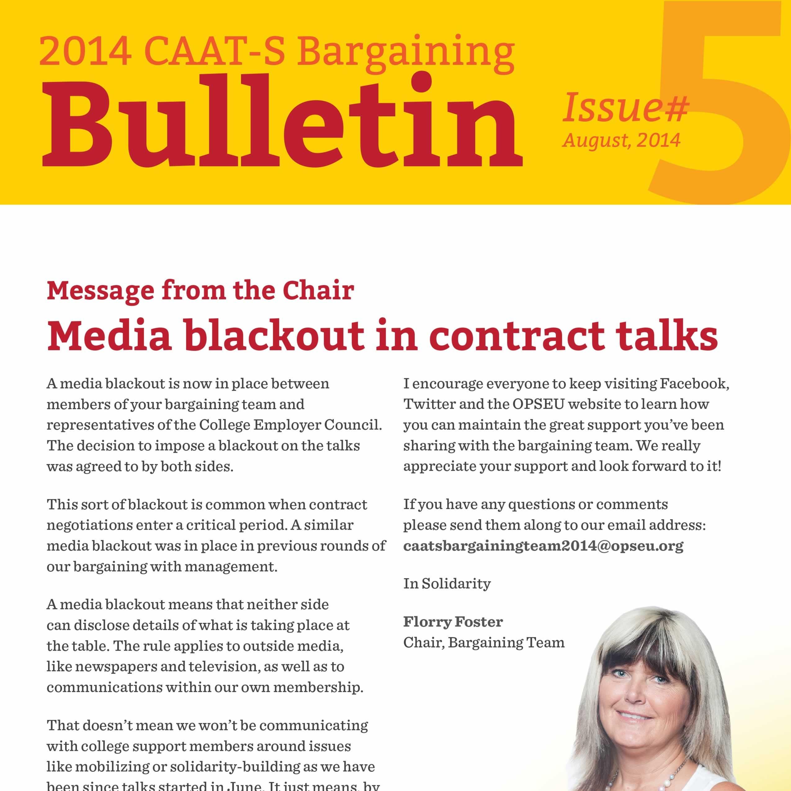 2014 CAAT-S Bargaining Bulletin Issue 5