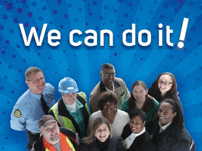 """Group of OPSEU members with the caption """"We can do it!"""""""