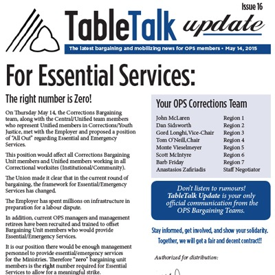 OPS Table Talk 2015 Issue 16, May 14, 2015 - For Essential Services: The right number is Zero!