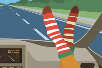 Illustration of a car passenger with their feet up on the dash