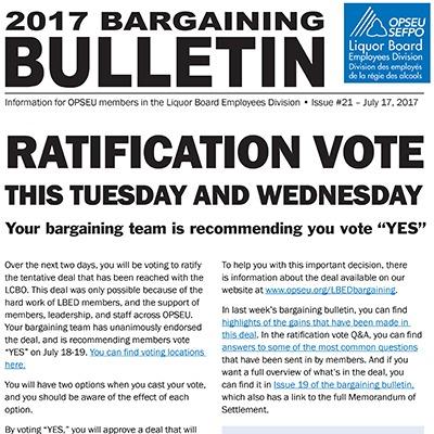 OPSEU LBED 2017 Bargaining Bulletin
