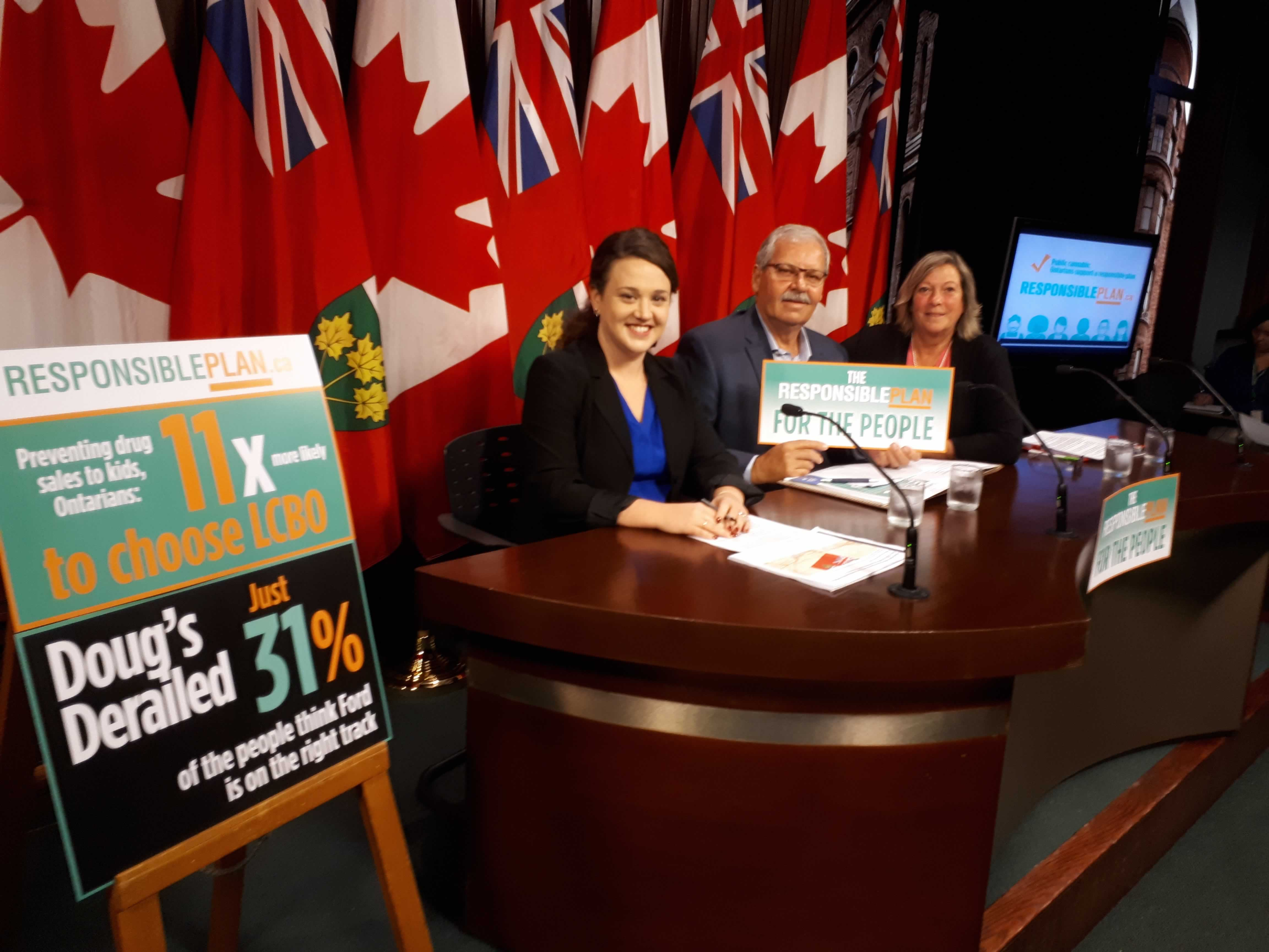 OPSEU President Warren (Smokey) Thomas and LBED Chair Denise Davis speak at the Responsible Plan media conference at Queen's Park.
