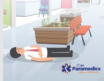 """Illustration of a man lying on his back looking illd with the text: """"Public access defibrillators only work if you can find them. OPSEU Paramedics make the difference."""""""