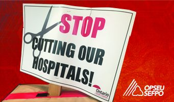 """Illustration of a picket sign that says """"Stop cutting our hospitals!"""""""