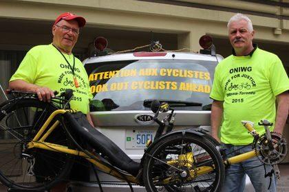 Richard Hudon and Peter Page bike ride from Ottawa to Toronto