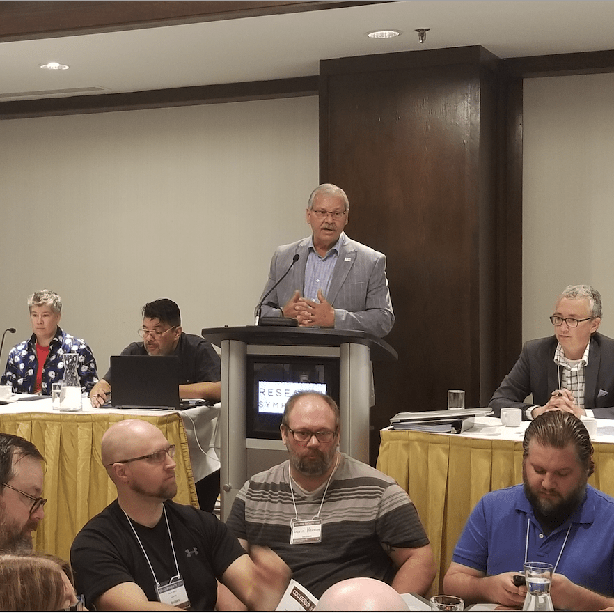 OPSEU President Warren (Smokey) Thomas addresses College Faculty Divisional Conference
