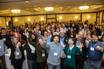 A large group of college support part-time workers celebrate joining OPSEU.