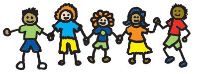 Child's drawing of children holding hands.