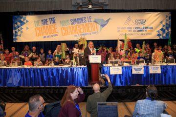 OPSEU President Warren (Smokey) Thomas speaks during OPSEU Convention 2018 Day 3 Photo