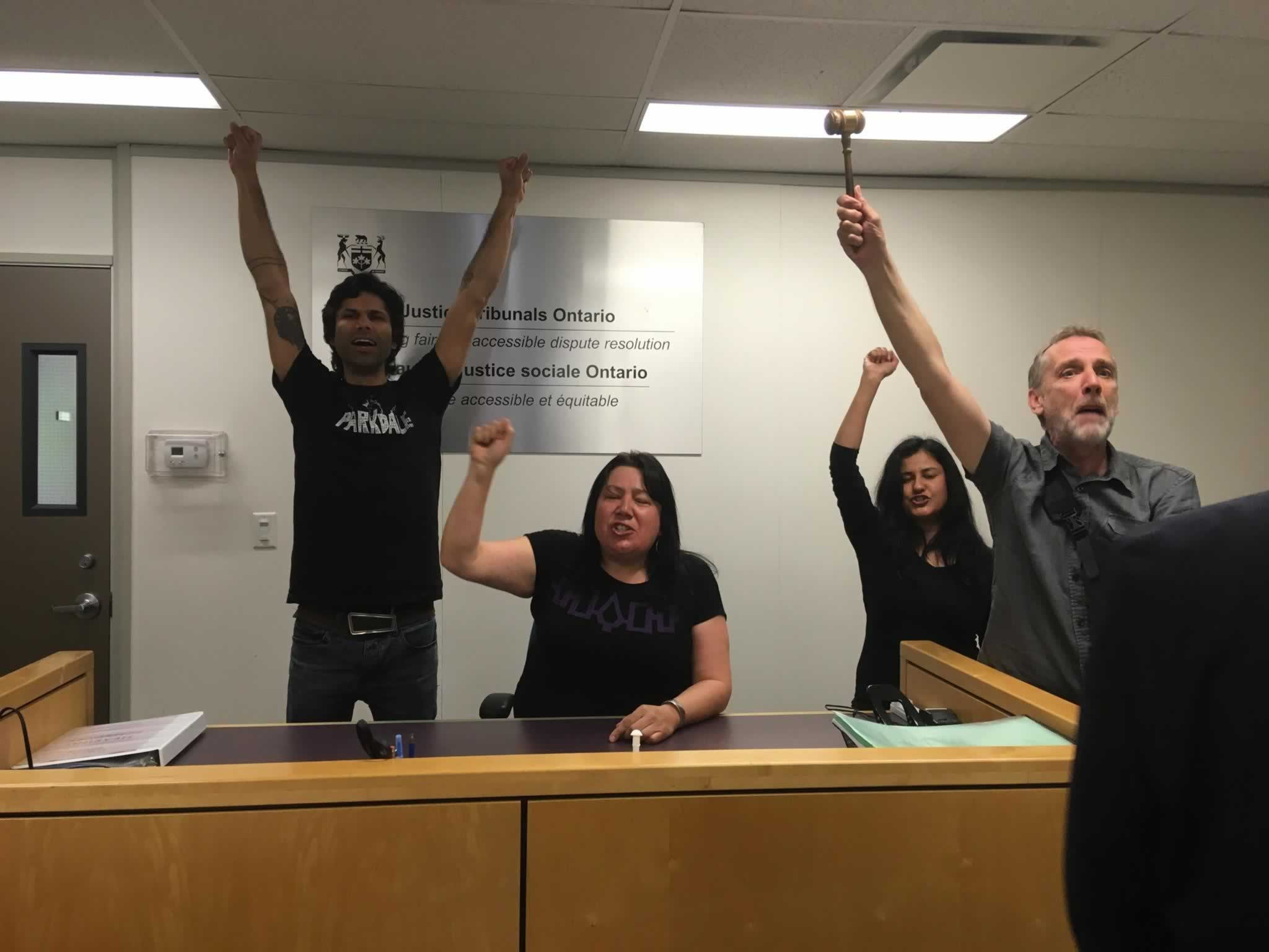 Crystal Sinclair of the IMT joins Parkdale rent strikers at Occupation of Landlord Tenant Board