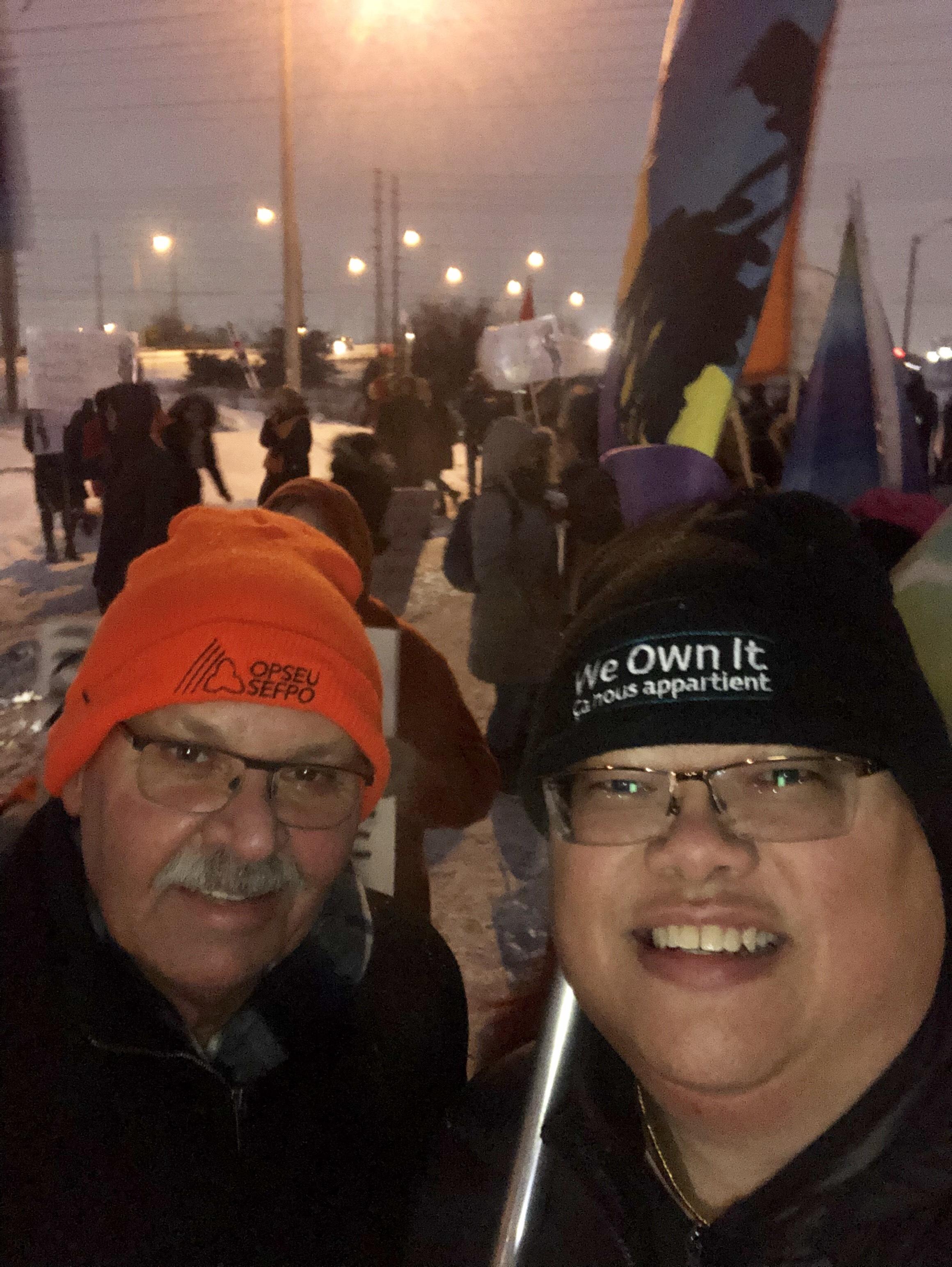 OPSEU President Warren (Smokey) Thomas rallies with OPSEU members outside a Doug Ford fundraiser rally