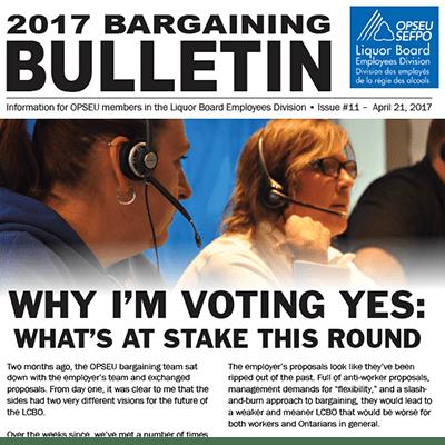 LBED Bargaining Bulletin 11, April 21, 2017
