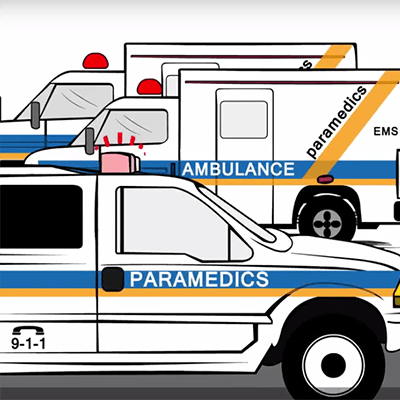 Illustration of paramedic and ambulance vehicles
