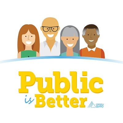 Illustration of four OPSEU members with the text: Public is Better OPSEU