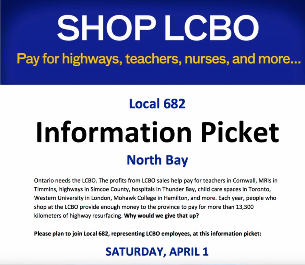 SHOP LCBO Information picket in North Bay, Sat. April 1