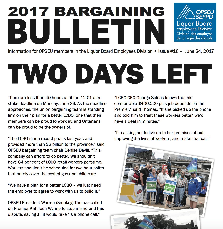LBED 2017 Bargaining Bulletin, June 24, 2017