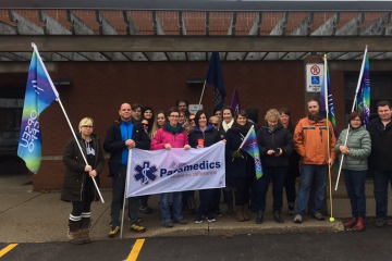 OPSEU members protests changes at CACC.