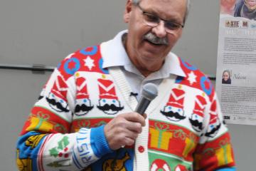 OPSEU President Warren (Smokey) Thomas speaks at 2018 staff holiday party.
