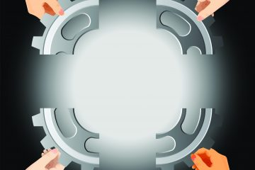 Illustration of a gear divided into four pieces, and four hands putting it back together