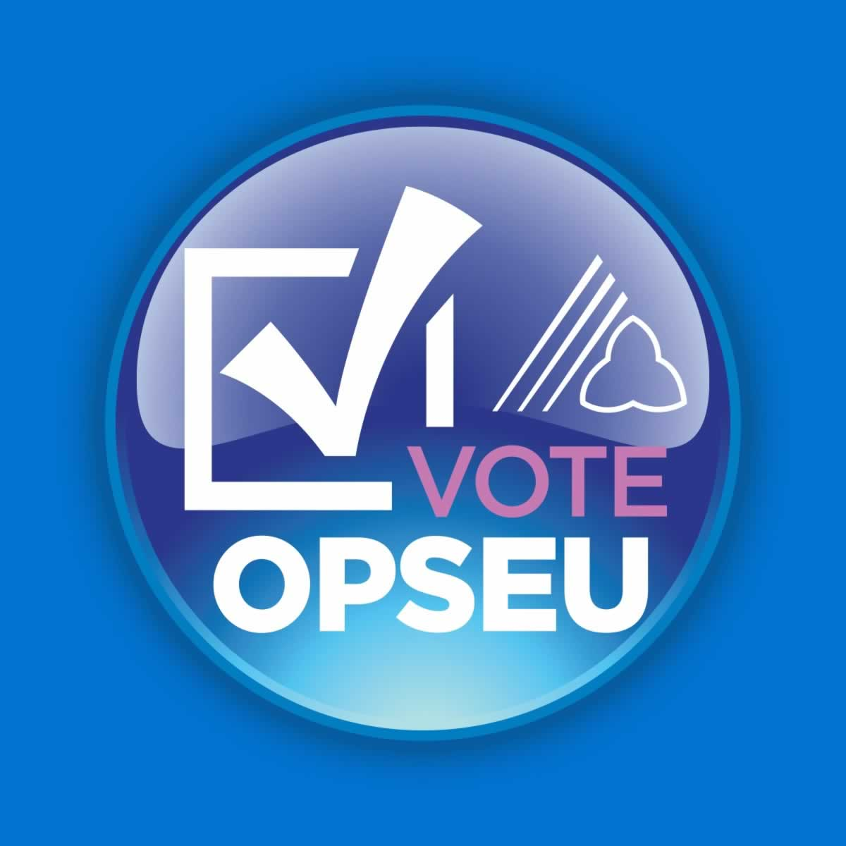 """Lapel button with a check mark and the text """"Vote OPSEU"""""""